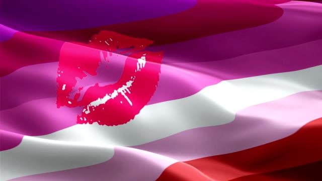 lipstick lesbian flag rainbow waving. 3d labrys pride symbol flag waving isolated. sign of rainbow seamless loop animation. red kiss lesbian lipstick flag hd resolution background. lgbt rights rainbow pride flag 1080p full hd video - kiss стоковые видео и кадры b-roll