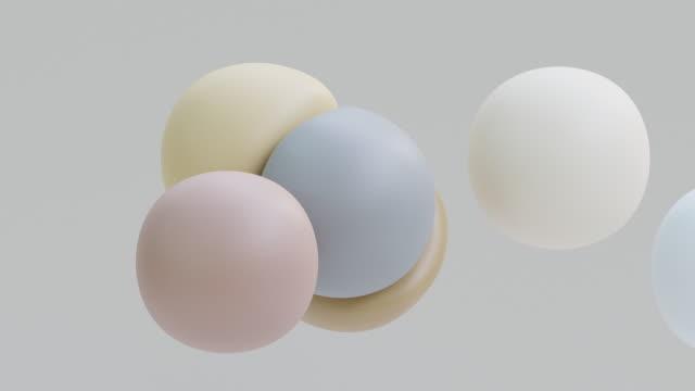 Liquid balls levitation. Morphing spheres in zero gravity movement. Soft body physics 3d render. Slow motion animation of elastic shapes bounce.