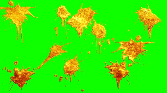 stockvideo's en b-roll-footage met vloeibare goud verf splatter overgang op chroma key groen scherm \ nieuwe kwaliteit unieke cartoon animatie dynamische vreugdevolle cool video-opnames - bespatterd