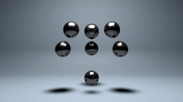 liquid mercury balls floating. - argentato video stock e b–roll