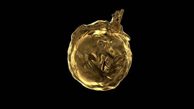 liquid metal flows with splashes around sphere with attraction to its center (with alpha channel). - campo gravitazionale video stock e b–roll