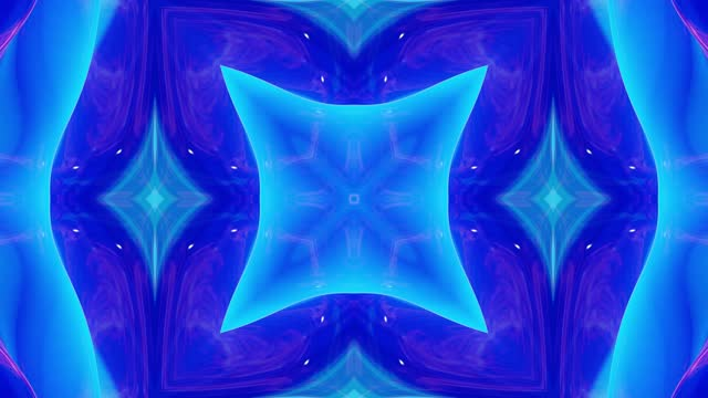 Liquid wavy pattern like kaleidoscope with blue waves. 3D stylish abstract looped bg, wavy symmetrical structure of brilliant liquid glass. 4k trendy colorful fluid animation. video