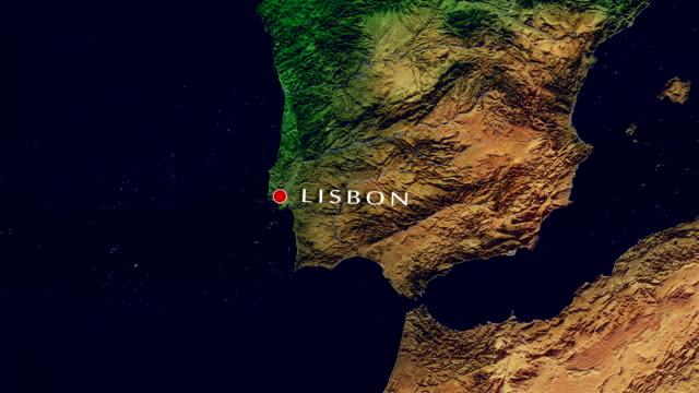 vídeos de stock e filmes b-roll de lisbon 4k  zoom in - portugal map