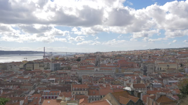 Lisbon and a cloudy sky Cityscape of Lisbon and a cloudy sky. ponte 25 de abril stock videos & royalty-free footage