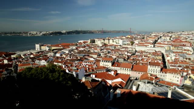 vídeos de stock e filmes b-roll de lisbon skyline portugal - ponte 25 de abril