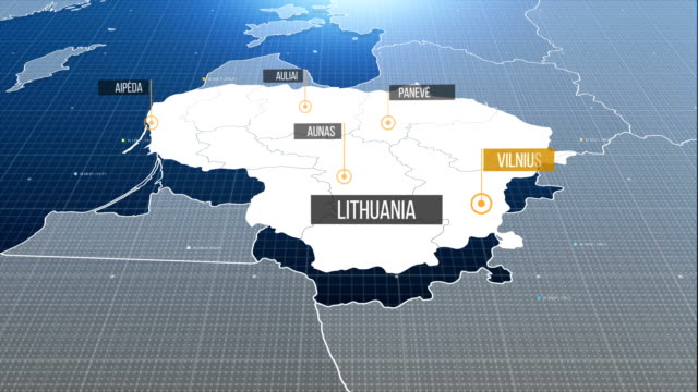 lithuania map with label then with out label - lituania video stock e b–roll