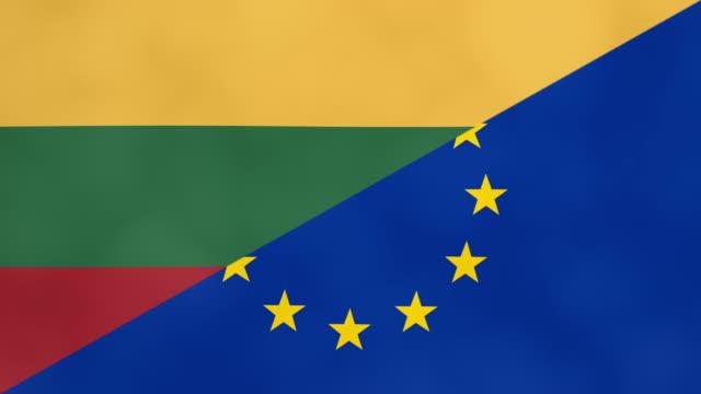 litauen und europa teilen flagge. brexit-konzept eines austritts litauens aus der europäischen union. - litauen stock-videos und b-roll-filmmaterial