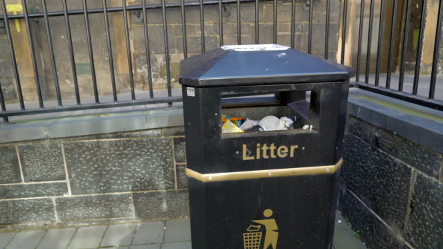 A litter sign on the garbage can video