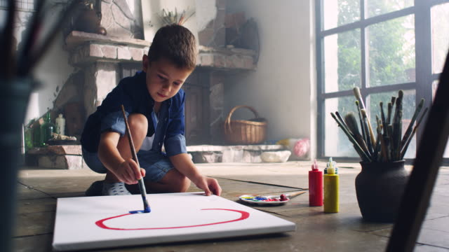 Little artist Little boy painting at the artist's studio boys stock videos & royalty-free footage