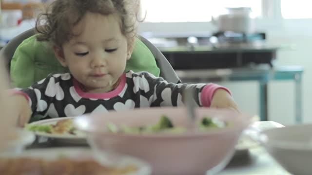 Little baby girl toddler eating her breakfast video