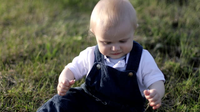 A little baby is sitting in the park and tearing the grass. video