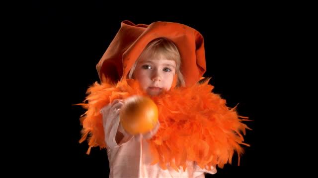 little blond girl in orange costume video