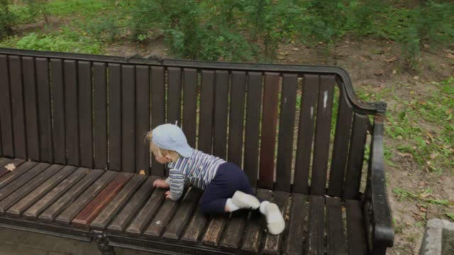 Little boy crawls on a bench in the park
