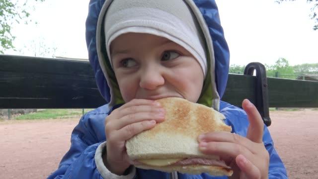 vídeos de stock e filmes b-roll de little boy eating a sandwich in park - sanduíche