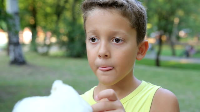 A little boy eating cotton candy A cute little boy eating cotton candy in the park. cotton candy stock videos & royalty-free footage