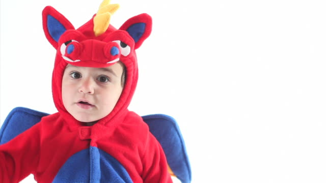 little boy halloween costume - dinosaur stock videos and b-roll footage