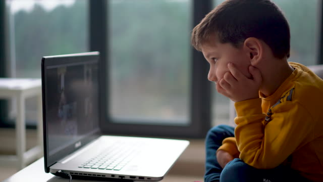 little boy having a video conference for distance learning kindergarten - scolaro video stock e b–roll