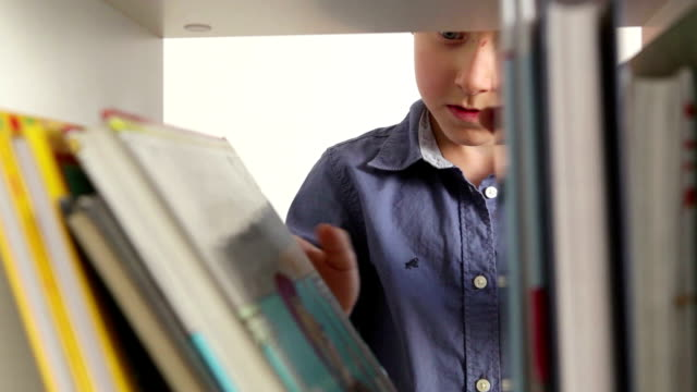 Little boy is going through the books on the shelf trying to pick one Little boy is going through the books on the shelf trying to pick one bookshelf stock videos & royalty-free footage