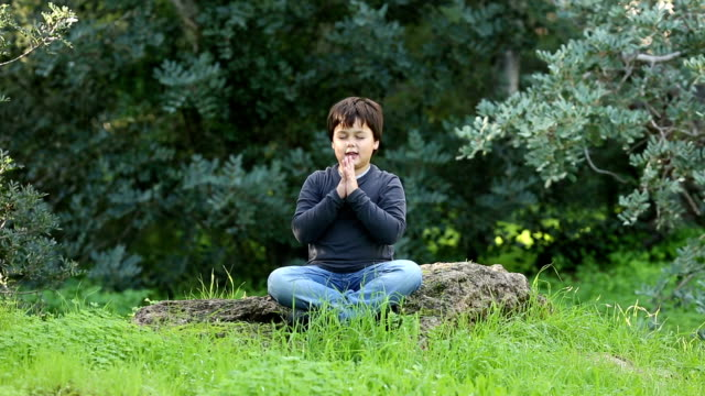 little boy  outdoor praying and meditating video