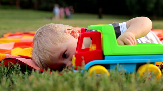Little boy playing with toy car in the park video