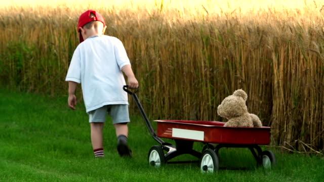 Little boy pulls a red wagon with teddy bear