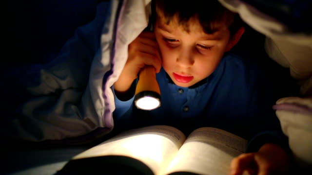 Little boy reading a book under the covers with flashlight Little boy reading a book under the covers with flashlight one boy only stock videos & royalty-free footage