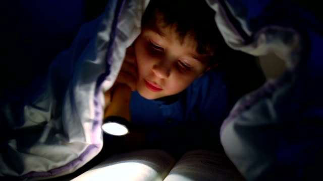 Little boy reading a book under the covers with flashlight video
