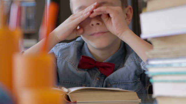 Little boy reading and studying video