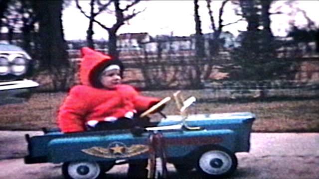 Little Boy Rides Car Outside (1964 - Vintage 8mm film)