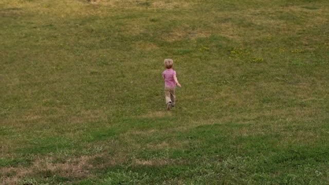 en liten pojke går på det gröna gräset i parken, han springer ner för backen. - jogging hill bildbanksvideor och videomaterial från bakom kulisserna