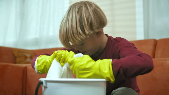 HD: Little Boy Scrubbing The Floor video