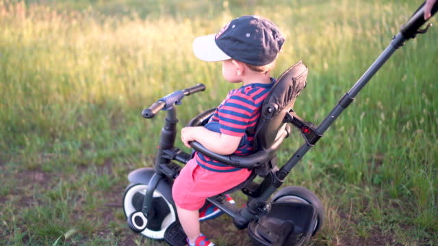 Little boy was sitting on a tricycle bike pushed by his mother on the field. Child in the park in summer