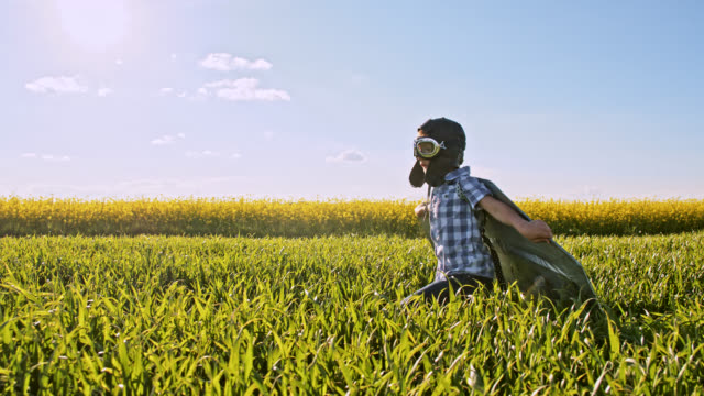 SLO MO Little boy wearing an airplane costume while running in a wheat field video