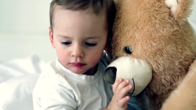 SLOW MOTION -Little Boy with Teddy Bear. video