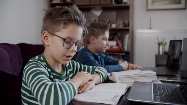 vídeos de stock e filmes b-roll de little boys attending to online school class. - home