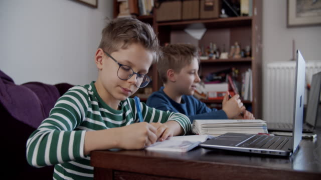 Little boys attending to online school class.