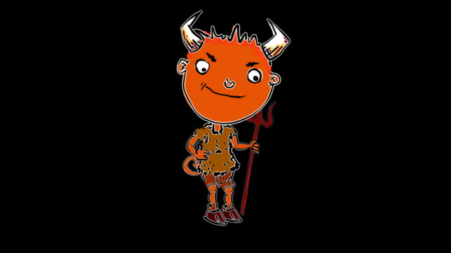 Little cartoon devil appears and taps his trident video