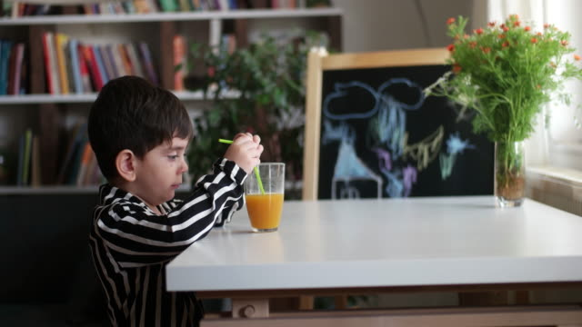 Little child drinking homemade orange juice