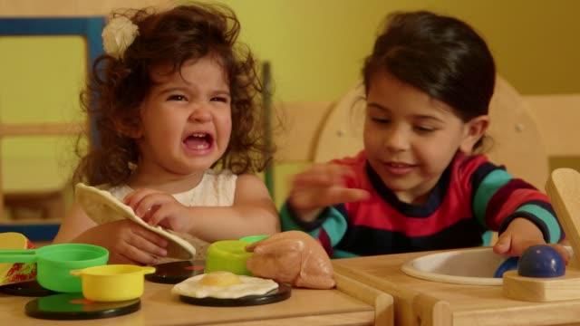 Little children, child, babies, girls, playing in kindergarten, school video