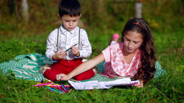 Little children draw in the garden video
