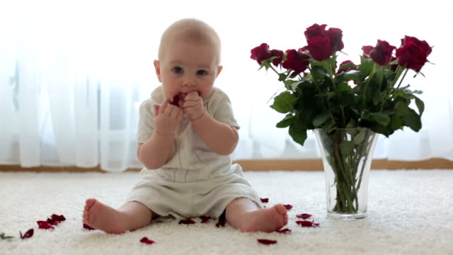Little cute baby toddler boy, sitting with roses for mom for Mother's day