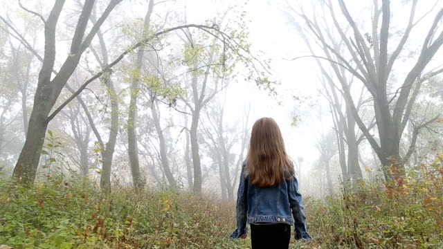 vídeos de stock e filmes b-roll de little european girl with a long hair, blue jacket, black pants, sneakers and blue eyes. a frightened little child is walking through the foggy deserted forest. loneliness. - criança perdida