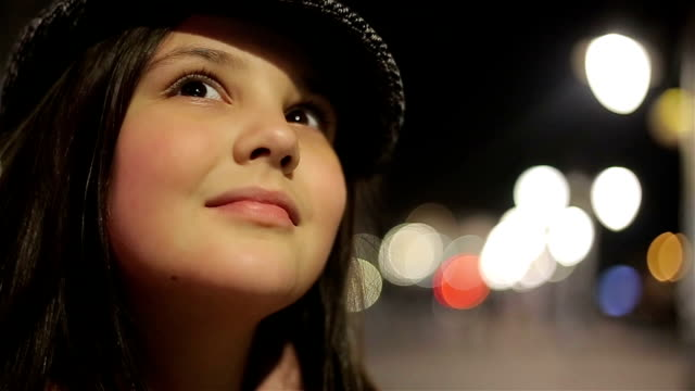 little girl close up at night video