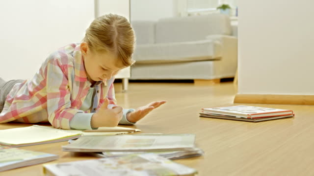 Little Girl Doing A Math Homework video