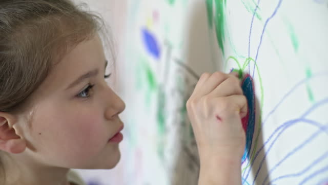 Little Girl Doodling on Wall video