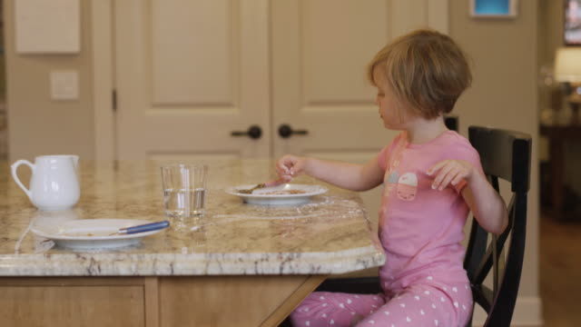 A little girl eating powdered sugar off of her plate with her fingers, with her dog begging nearby video