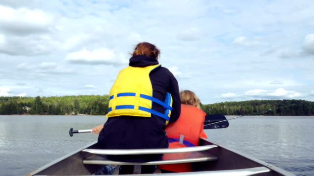 Little Girl Fishing and Mother Rowing on the Waters of Georgian Bay video
