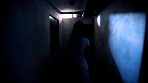 Little girl ghost in basement Little girl ghost in basement and a person that touch her shoulder. fear stock videos & royalty-free footage