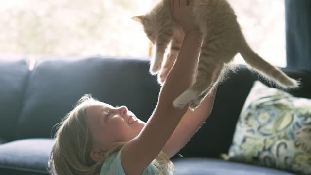 Una niña pequeña sosteniendo un gato DE por encima de su cabeza y luego un darle un abrazo - vídeo