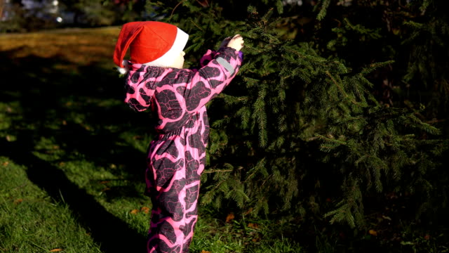 A little girl in a Santa Claus hat decorates with balls a tree in the street. video